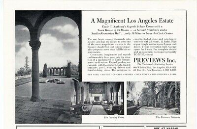LOS ANGELES CA Real Estate Ad 1940's Mansion Home 8 Acres and Other Cities