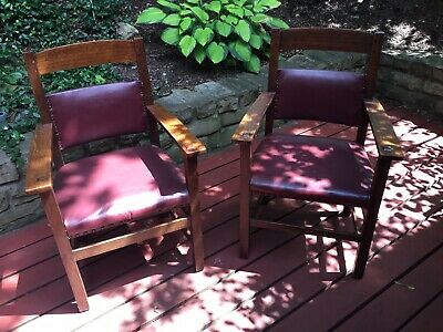 """Limbert Signed Matched Arm Chairs, """"Mother & Father"""", Mission, Arts & Crafts"""