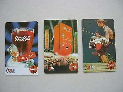 1995 Coca Cola Sprint Lot Of (3) $3.00 Usa Unscratched Phone Cards Have A Coke