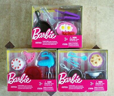 Barbie Doll Cooking Baking Accessory Packs Lot Of 3 New In Box Pots Utensils