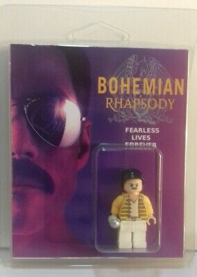 Custom Lego Freddie Mercury mini figure and clamshell display box