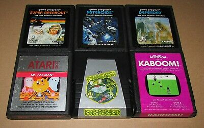 Lot of 6 Atari 2600 Games (Frogger, Defender, Asteroids, Ms Pac-Man, Kaboom!)