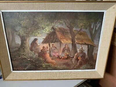Original Oil Painting by listed artist Antonio Vasquez Parra 1965 Fire Gathering
