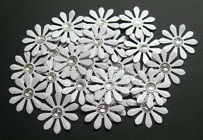 Flower Embellishments WHITE PEARL CARD-STOCK, approx 25 pieces,with Rhinestones