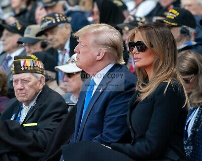 DONALD TRUMP AND MELANIA AT THE 75th COMMEMORATION OF D-DAY - 8X10 PHOTO (SP089)