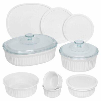 CorningWare French White Round and Oval Bakeware Set 12-Piece