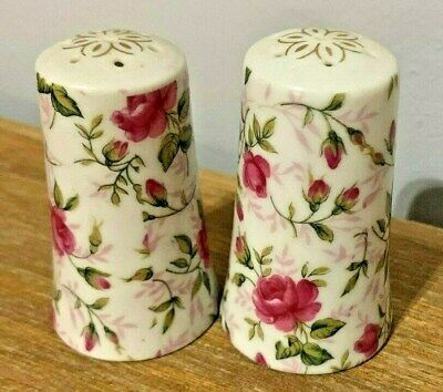 Vintage Lefton China Rose Chintz Pattern Set of Salt & Pepper Shakers 665R