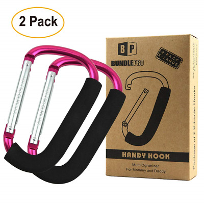 Pack of 2 XLarge Stroller Hook, Mommy Organizer for Hanging Diaper Shopping Bag