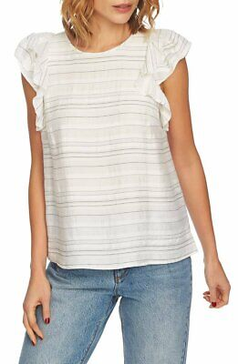 1.STATE $89 Flounce-Sleeve Top XS 0/2 NWT Antique White Striped