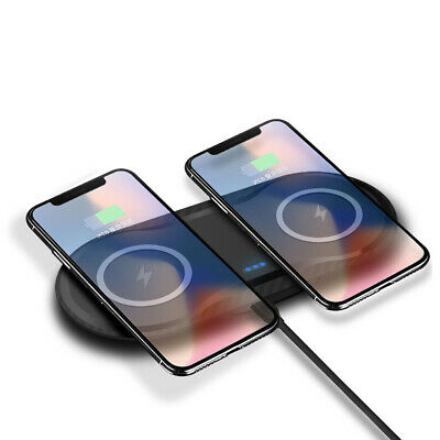 AU Qi Wireless Charger Dual Phone Charging Mat Pad For iPhone XS XR Samsung S10+
