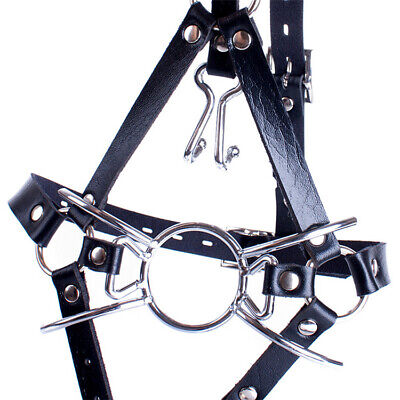 Leather belt Open Mouth Spider O ring Gag Head Harness Mask with Nose Hook