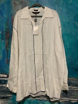 Vintage Inserch Collezione Uomo Italy Linen Shirt Long Sleeve Mens Size 4XL VTG
