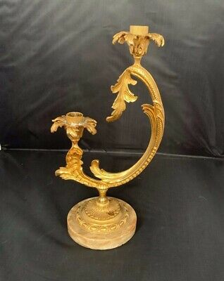 "ANTIQUE Vintage French GILT METAL BRASS CANDELABRA 1.5"" high candlestick holder"