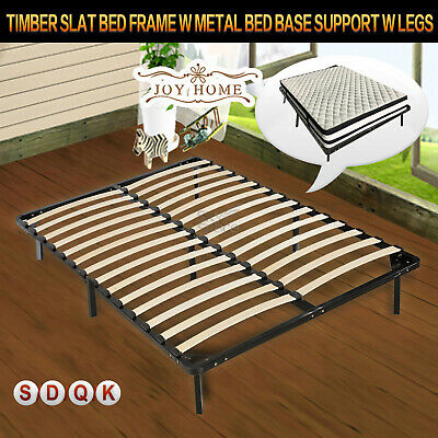Metal Bed Base Support w Timber Slat Bed Frame w legs Single/Double/Queen/King