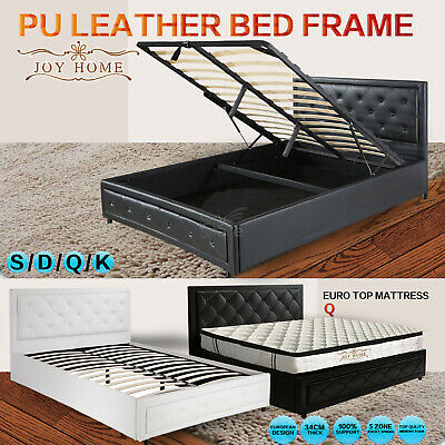 8d41ce7a3d23 Gas Lift Bedroom Furniture Storage /Bed Frame PU Leather Double Queen King  Size