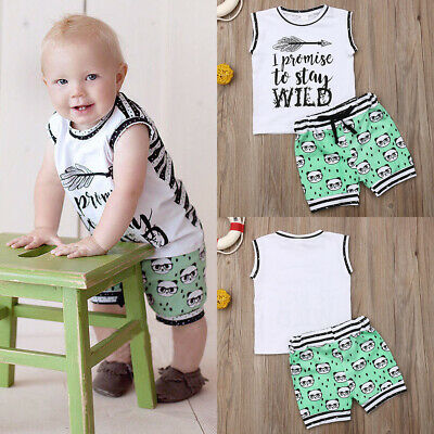 US Toddler Kids Baby Boy Clothes Boys Outfits Sets Short T-Shirt Tops+Pants Set