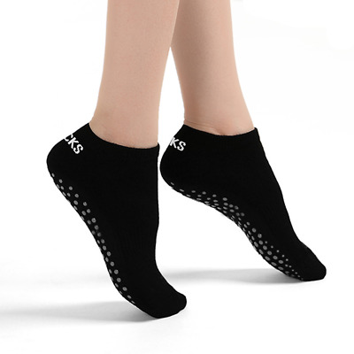 Cotton Pilates Socks for Yoga/Barre/Dance/Fitness with non-slip soles Black