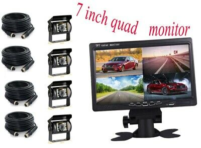 "7"" Quad Truck Wireless TFT - LCD Dash Screen Monitor and 4 Rear View Camera USA"