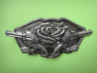 USA  Pewter Belt Buckle  Famous Stars & Straps Guns and Rose   Pre-Owned