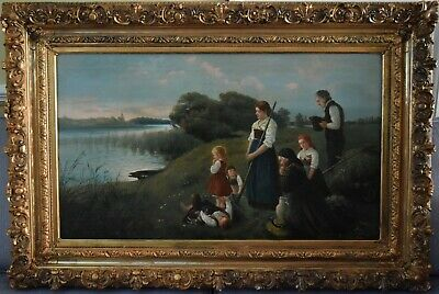Antique  late 19th or early 20th c oil on canvas gilt - stucco frame, signed