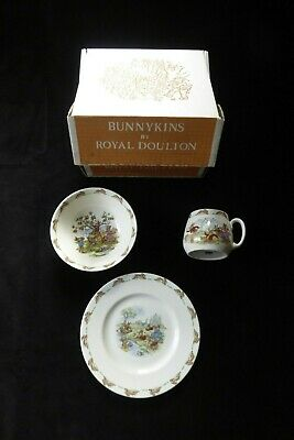 NEW Royal Doulton BUNNYKINS Child's 3 pc set Cup Bowl Plate Bone China 1967-75