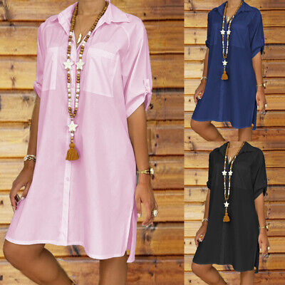 Womens Summer V Neck Pocket Tunic Shirt Dress Ladies Loose Fit Tops Mini Dress