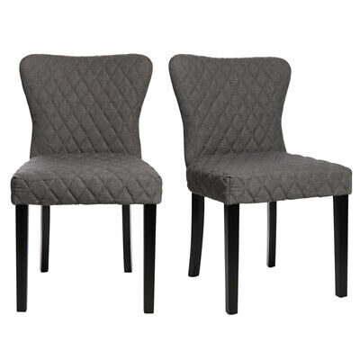 2pcs Dining Chairs Velvet Fabric Wing Back Wooden Legs Grey Dressing Home Lounge