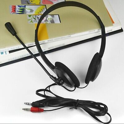 3.5mm Wired Stereo Headset w/ Mic Microphone Headphone For PC Laptop Computer