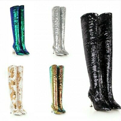 Sexy Womens Glitter Sequins Stilettos Heel Pointed Toe Over Knee Thigh Boots US
