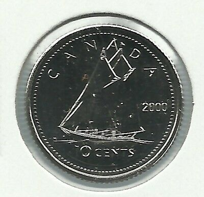 2000 10 Cents Brilliant Uncirculated PL Proof Like from a mint set.