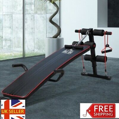 Abs Sit Up Bench Core Workout Adjustable Thigh Support Home Gym Black Equipment