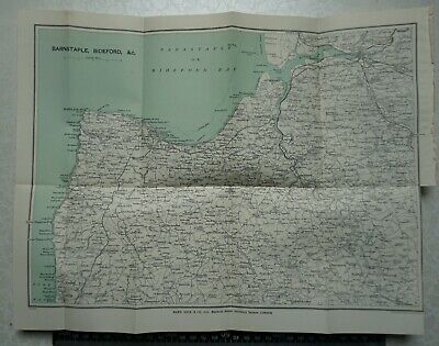 1929 Vintage Map of Barnstaple, Bideford, Clovelly, Torrington, North West Devon