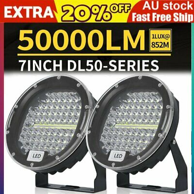 Pair 7 Inch Round LED Driving Lights Offroad Spot 4WD 4x4 Lights Spotlights AUS