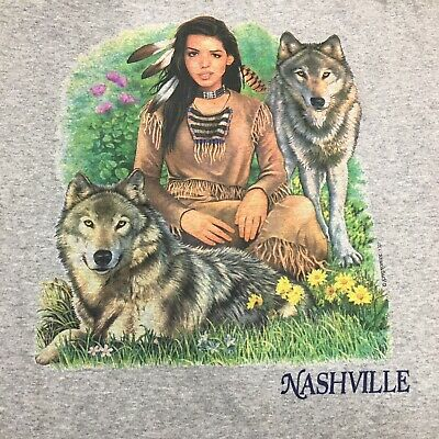 Vintage Nashville Native American Wolves Single Stitch Shirt XL Made In USA