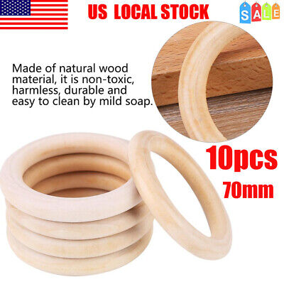 Infant Baby Teether Natural Wooden Circle Ring Bracelet Teething Chewable Toy