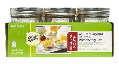 Ball Mason Quilted Design Preserving Jars 6 Pack With Recipe 240ml Regular Mouth