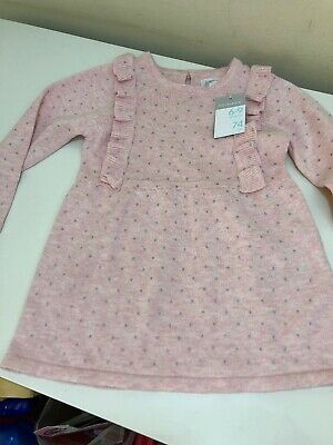 Primark Baby Girls Dress 6-9 Months (74cm) Brand New With Tags Pink W/Grey Spots