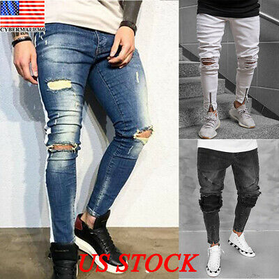 80c7a106805 Casual Men's Ripped Skinny Jeans Destroyed Frayed Slim Fit Denim Pants  Trousers