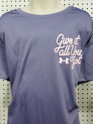Girls Kids Youth Under Armour Shirt NEW Long Sleeve Gray Purple Size XL