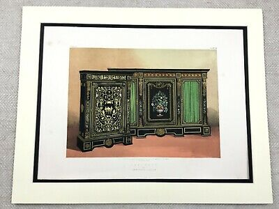 1862 Print Victorian Ebony Boulle Cabinet Sideboard Antique Chromolithograph