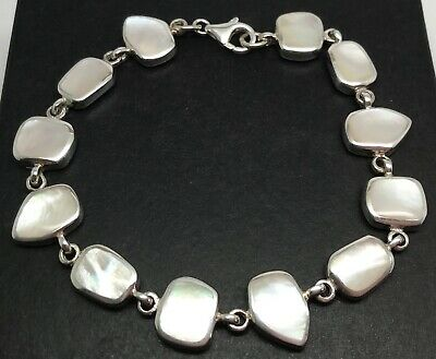 mother of pearl bracelet, solid Sterling Silver, mixed shapes, UK seller.