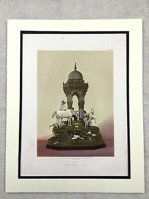 1862 Print Sterling Silver Table Fountain Garrard & Co Antique Chromolithograph