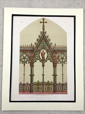 1862 Print Hereford Cathedral Screen Architecture Rare Antique Chromolithograph