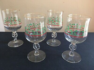 SET OF 4 Holly & Berries Wine Glass/Water Goblet; Bow Stem; Arby's; FREE SHIP