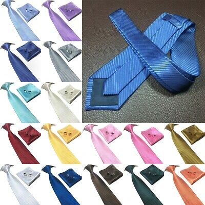 3pcs/set Classic Striped Tie+Pocket towel+Hanky Cufflinks Men's Suit Tie Necktie