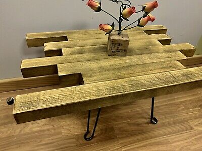 Hand Made Solid Wood Idigbo coffee table Rustic ,Vintage , With Metal Legs