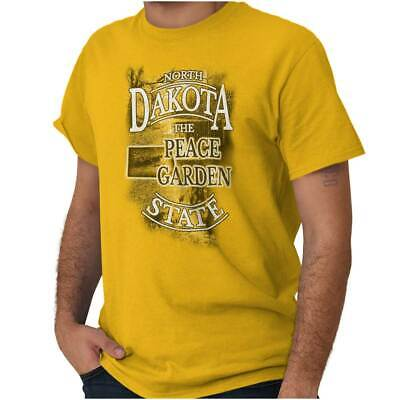 North Dakota Peace Garden State Map Tourist Short Sleeve T-Shirt Tees Tshirts
