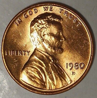 1980-D 1C Lincoln Memorial Cent 18ll0927-a  BU Only 50 Cents for Shipping*