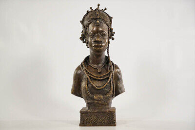 "Intriguing Benin Bronze Female Bust 13"" - Nigeria - African Art"