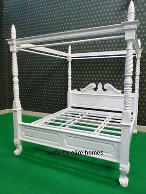 UK STOCK ~ Super King Size mahogany wood Queen anne style four poster canopy bed